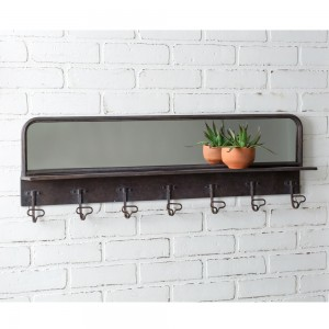 Entryway Mirror with Hooks