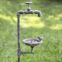 Faucet and Bird Garden Stake Feeder