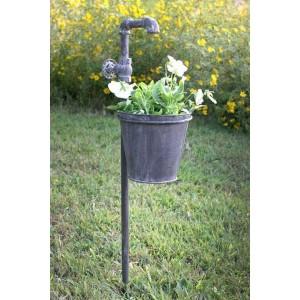 Faucet Garden Stake w/Planter