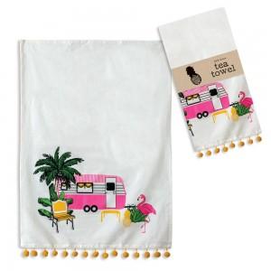 Flamingo Camper Tea Towel - Box of 4