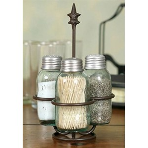 Fleur-de-lis Mini Mason Jar Salt/Pepper/Toothpick Holder