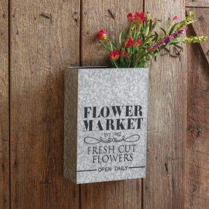 Flower Market Galvanized Wall Planter