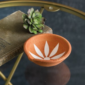 Flower Terra Cotta Trinket Dish - Box of 2