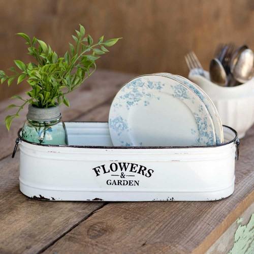 Flowers and Garden Long White Bin