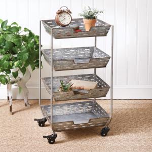 Four Tier Olive Storage Bin Cart