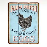 Free Range Eggs Wood Wall Sign