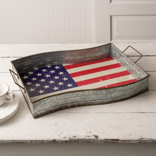 Galvanized American Flag Serving Tray