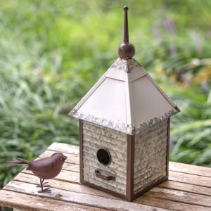 Galvanized Metal Cottage Birdhouse