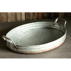 Galvanized Oval Serving Tray