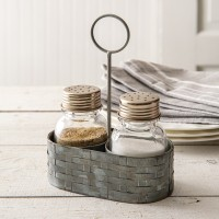 Galvanized Salt and Pepper Caddy with Handle