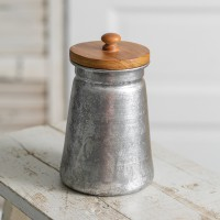 Galvanized Storage Container with Wood Lid
