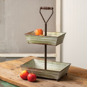 Galvanized Two-Tier Rectangle Tray