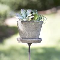 Garden Stake with Terra Cotta Pot