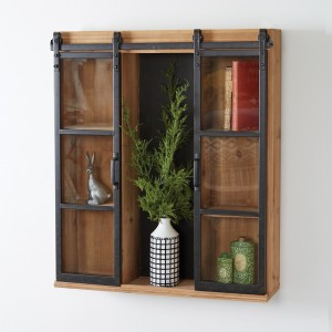 Glass Barndoor Wall Cabinet