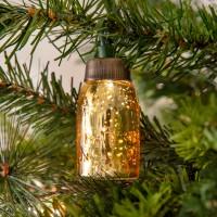 Glass Mini Mason Jar Ornament - Mercury Gold