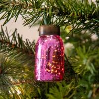 Glass Mini Mason Jar Ornament - Mercury Pink