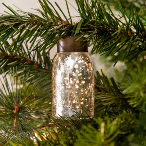 Glass Mini Mason Jar Ornament - Mercury Silver