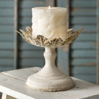 Gold Leaf Pillar Candle Holder