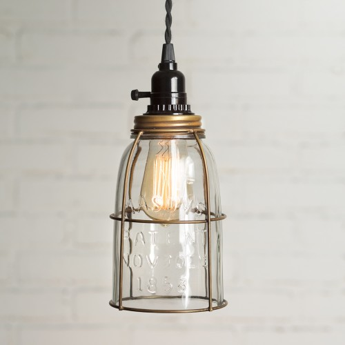 Half Gallon Caged Mason Jar Pendant Light - Antique Brass