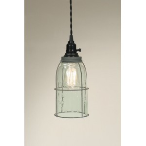 Half Gallon Caged Mason Jar Pendant Light - Barn Roof