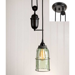 Half Gallon Caged Mason Jar Pulldown Pendant Light - Barn Roof
