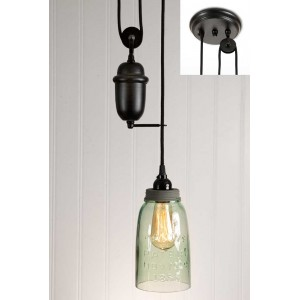 Half Gallon Mason Jar Pulldown Pendant Light - Barn Roof Lid