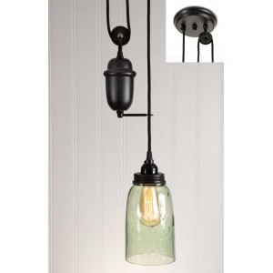 Half Gallon Mason Jar Pulldown Pendant Light - Brown Lid