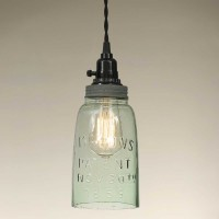 Half Gallon Open Bottom Mason Jar Pendant Light - Barn Roof