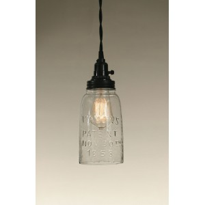Half Gallon Open Bottom Mason Jar Pendant Light - Clear Glass