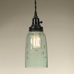 Half Gallon Open Bottom Mason Jar Pendant Light - Rustic Brown