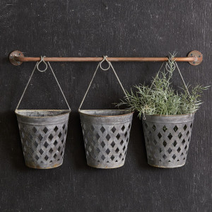 Half Round Open Weave Metal Wall Buckets