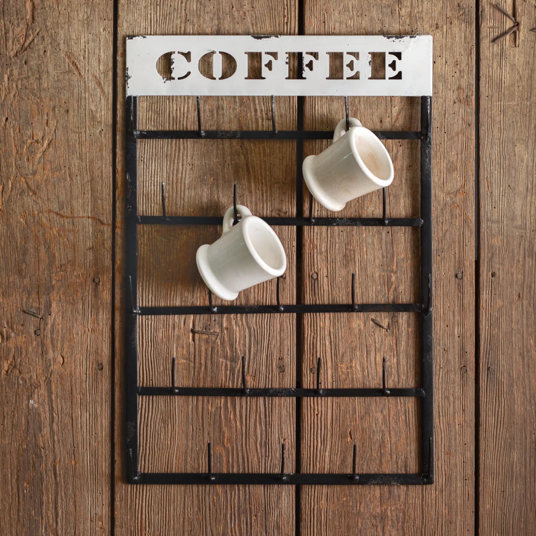 Rustic Farmhouse Hanging Coffee Mug Rack