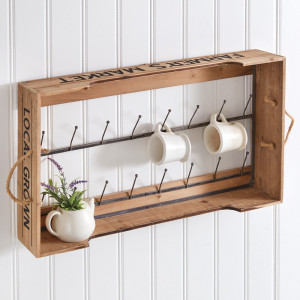 Hanging Farmers Market Crate with Sixteen Hooks