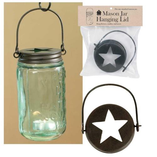 Hanging Mason Jar Lid - Star Top