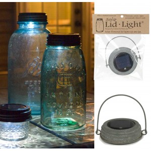 Hanging Mason Jar Solar Light Lid - Barn Roof