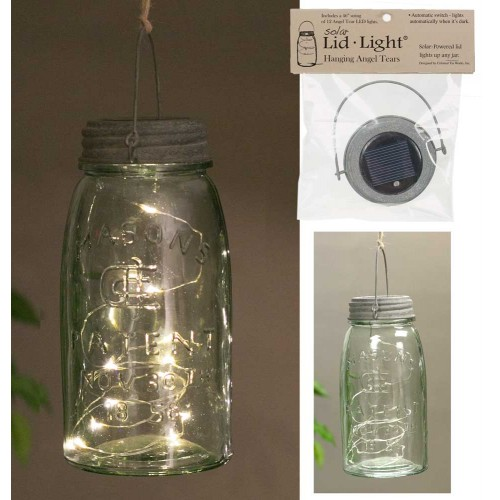 Hanging Mason Jar Solar Light Lid - Barn Roof - Angel Tears