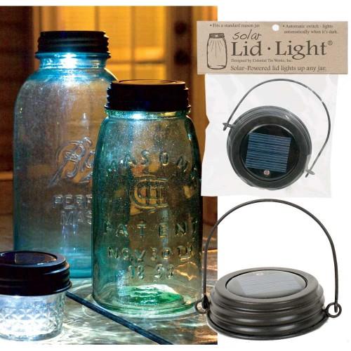 Hanging Mason Jar Solar Lid Light - Rustic Brown