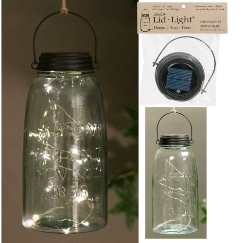 Hanging Mason Jar Solar Light Lid - Rustic Brown - Angel Tears