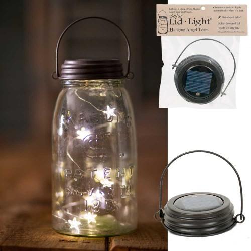 Hanging Mason Jar Solar Light Lid - Star Shape Angel Tears