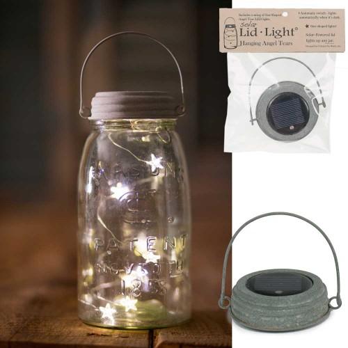 Hanging Mason Jar Solar Light Lid - Star Shape Angel Tears - Barn Roof