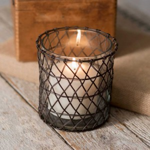 Harriett Wire Candle Holder with Glass