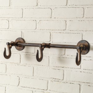 Industrial Three Hook Wall Rack