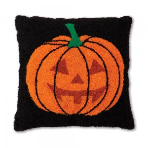 Jack O' Lantern Hooked Cotton Pillow