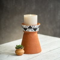 Large Terra Cotta Pillar Candle Holder