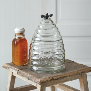 Large Honey Hive Glass Canister