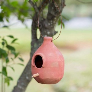 Large Terra Cotta Hanging Birdhouse