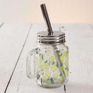 Lemons Glass Mug with Straw