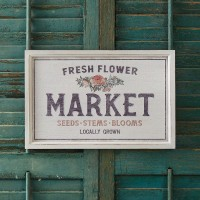 Locally Grown Flower Market Framed Sign