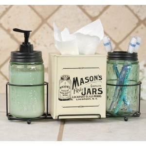 Mason Jar Bathroom Caddy with Mason Jars and Tissue Box Cover