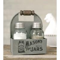 Mason Jar Box Salt And Pepper Caddy with Wood Handle